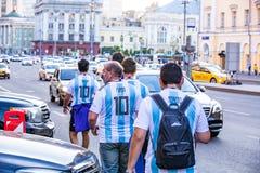 2018年6月16日 世界杯2018年,在M街道上的足球迷  免版税库存照片