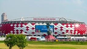 2018年6月23日 俄国 莫斯科 体育场` Spartak `的看法在比赛比利时-突尼斯以后的 爱好者从出来 股票录像