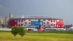 2018年6月23日 俄国 莫斯科 在比赛比利时-突尼斯期间,观看体育场` Spartak ` 股票录像