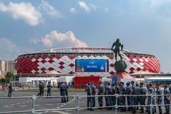 2018年6月23日 俄国 莫斯科 在比赛比利时-突尼斯期间,观看体育场Spartak 免版税库存照片