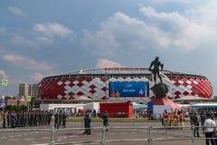 2018年6月23日 俄国 莫斯科 在比赛比利时-突尼斯期间,观看体育场Spartak 图库摄影