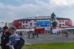 2018年6月23日 俄国 莫斯科 在比赛比利时-突尼斯期间,观看体育场Spartak 免版税库存图片
