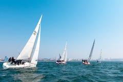 2017年5月15日-俄罗斯,符拉迪沃斯托克:游艇的赛船会 免版税图库摄影
