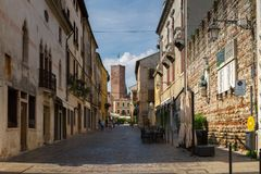 2016年6月11日 意大利-田园诗中世纪City Bassano del Grappa 免版税库存照片
