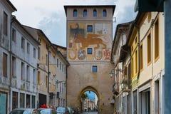 2016年6月11日 意大利-田园诗中世纪City Bassano del Grappa 库存照片