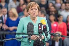 2019年5月23日-罗斯托克:德国总理安格拉・默克尔在新闻招待会 库存照片