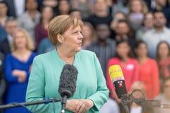 2019年5月23日-罗斯托克:德国总理安格拉・默克尔在新闻招待会 免版税库存照片