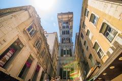 2017年7月10日-里斯本,葡萄牙 圣诞老人Justa推力也叫的卡尔穆推力是一个电梯在里斯本 免版税库存照片
