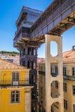 2017年7月10日-里斯本,葡萄牙 圣诞老人Justa推力也叫的卡尔穆推力是一个电梯在里斯本 库存图片