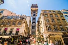 2017年7月10日-里斯本,葡萄牙 圣诞老人Justa推力也叫的卡尔穆推力是一个电梯在里斯本 免版税图库摄影