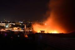 2018年2月20日7:20 pm火在帕西格菲律宾 库存照片