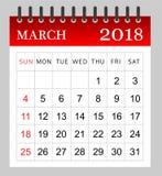 2018年3月-月度日历 免版税库存图片