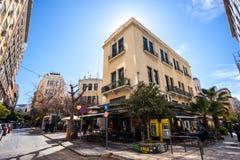 11 03 2018年Atnens,希腊-雅典房子和街道,现代 库存照片