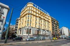 11 03 2018年Atnens,希腊-雅典房子和街道,现代 免版税库存图片