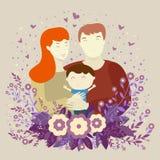 幸福家庭、年轻父母、妈妈、爸爸和儿子花和心脏被隔绝的背景的  柔和的淡色 向量例证