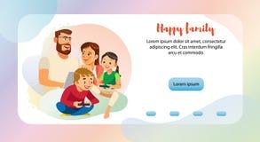 幸福家庭休闲网横幅传染媒介模板 向量例证