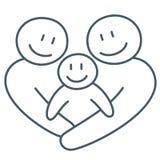 幸福家庭作为爱的概念的线艺术抽象图画 皇族释放例证