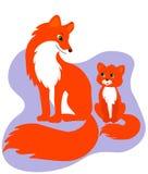 幸福家庭卡片 逗人喜爱的狐狸家庭 库存例证