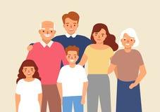 幸福家庭画象有祖父、祖母、父亲、母亲、儿童一起站立的女孩和的男孩的 逗人喜爱滑稽 向量例证