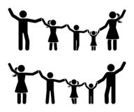 幸福家庭象集合的棍子形象手 有的父母和的孩子乐趣一起图表 皇族释放例证