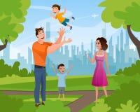 幸福家庭走的使用在夏天城市公园 向量例证