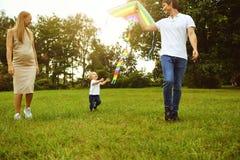 幸福家庭跑与风筝通过草在公园 免版税库存照片