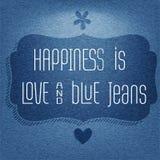 幸福是爱和蓝色牛仔裤,行情印刷背景 免版税库存图片