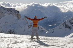 幸福滑雪者 免版税库存照片