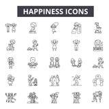 幸福线象,标志,传染媒介集合,概述例证概念 库存例证
