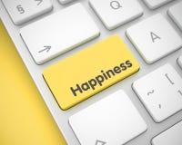 幸福-在黄色键盘键盘的题字 3d 免版税库存照片