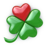幸运的红色,绿色心脏三叶草 库存照片