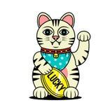 幸运的CAT MANEKI NEKO日本人形象 皇族释放例证