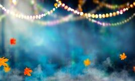 幻想万圣夜背景 秋季美丽的森林 图库摄影