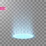 幻想不可思议的门户  未来派远距传物 光线影响 夜场面和火花的光线在透明 库存例证