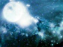 幻想与满月的夜空的例证 蠢材 免版税库存图片