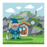 幻想地精房子传染媒介动画片神仙的树上小屋和不可思议的安置的村庄例证套孩子地精童话 向量例证