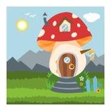幻想地精房子传染媒介动画片神仙的树上小屋和不可思议的安置的村庄例证套孩子地精童话 库存例证