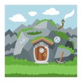 幻想地精房子传染媒介动画片神仙的树上小屋和不可思议的安置的村庄例证套孩子地精童话 皇族释放例证