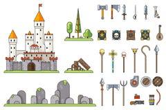幻想城堡比赛武器屏幕概念冒险家RPG平的设计不可思议的神仙的尾巴象模板传染媒介 皇族释放例证