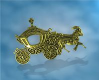 幻想抽象图片 与向上移动的vagon的金黄hourses Textspace在无盖货车和在surrondings 免版税库存图片