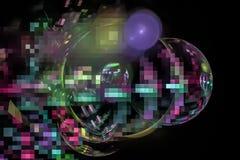 幻想摘要作用超现实的亮光元素纹理爆炸闪闪发光想象力分数维,发光的数字未来派 库存例证