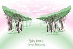 幻想森林横向春天 免版税库存照片
