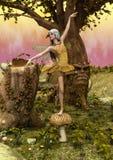 幻想神仙的跳舞场面在蘑菇的 向量例证