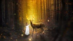 幻想自然Landcape,女孩,鹿,大型装配架 库存照片