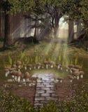 幻想采蘑菇风景 向量例证