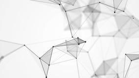 幻想黑色结节的白色背景有小点、线和三角的 抽象技术未来派网络 循环 库存例证