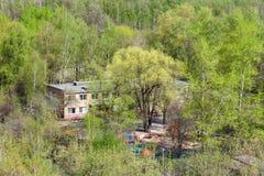 幼儿园在绿色森林在晴天 库存照片