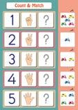 幼儿园孩子、计数和比赛的算术活页练习题 免版税库存照片