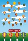 幼儿园算术活页练习题,多少气球在那里 免版税库存照片