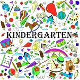 幼儿园线艺术设计传染媒介例证 免版税图库摄影